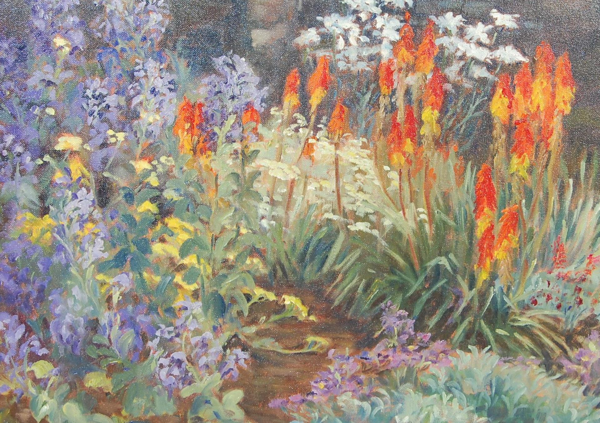 PAINTING BY LOCAL ARTIST - KEITH ELVIN - THE MIXED BORDER - Image 2 of 7