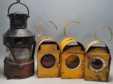 GROUP OF THREE VINTAGE INDUSTRIAL SALVAGE WORK LIGHTS