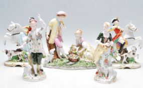 GROUP OF 19TH CENTURY AND LATER DRESDEN STYLE CERAMIC PORCELAIN FIGURINES