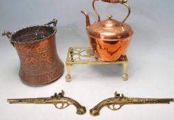 EARLY 20TH CENTURY ARTS AND CRAST COPPER BUCKET, COPPER KETTLE AND BRASS TRIVET