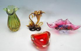 A COLLECTION OF RETRO VINTAGE CONTINENTAL STUDIO ART GLASS
