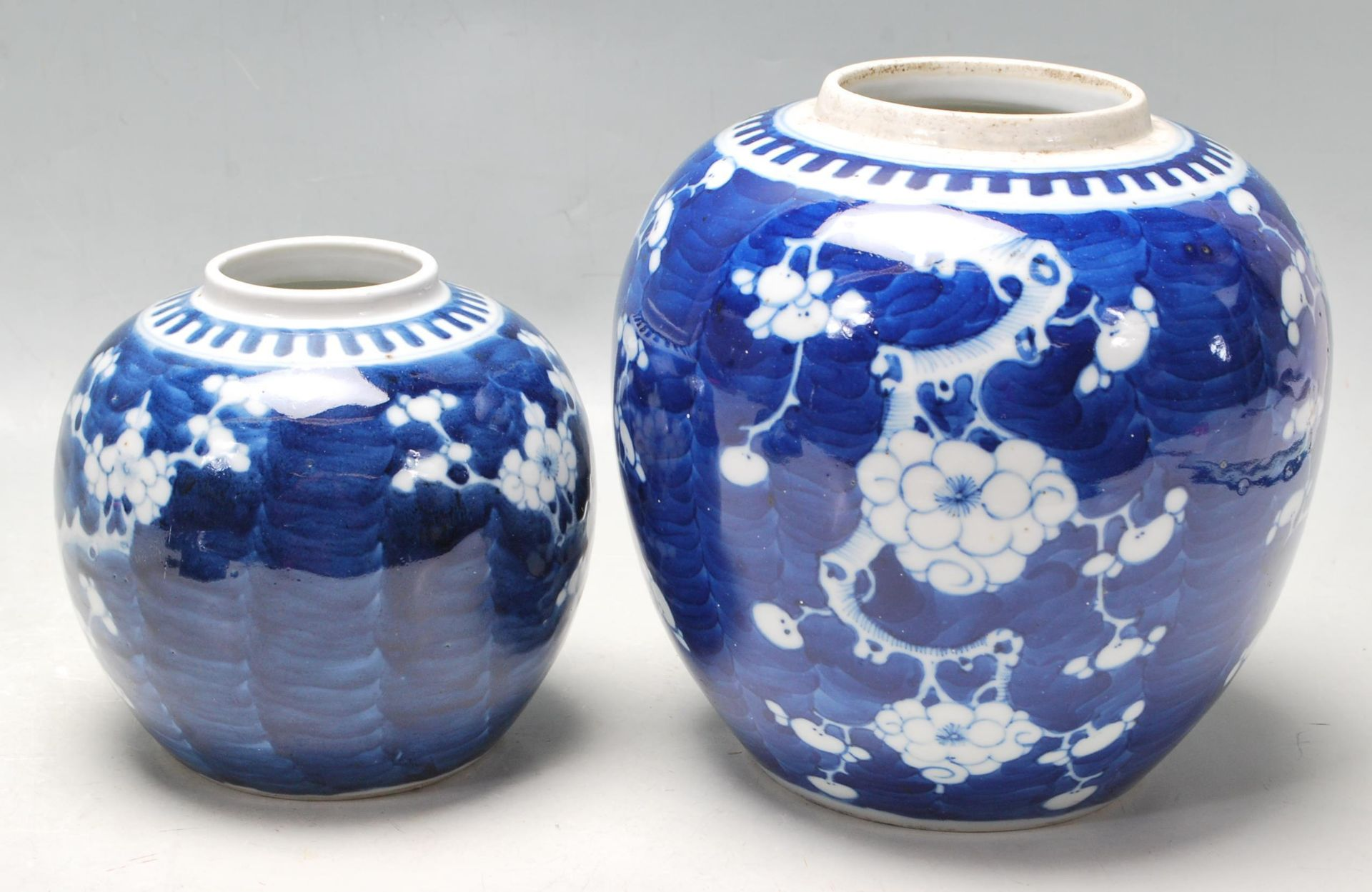 TWO ANTIQUE EARLY 20TH CENTURY CHINESE BLUE AND WHITE GINGER AND JARS - Image 4 of 8