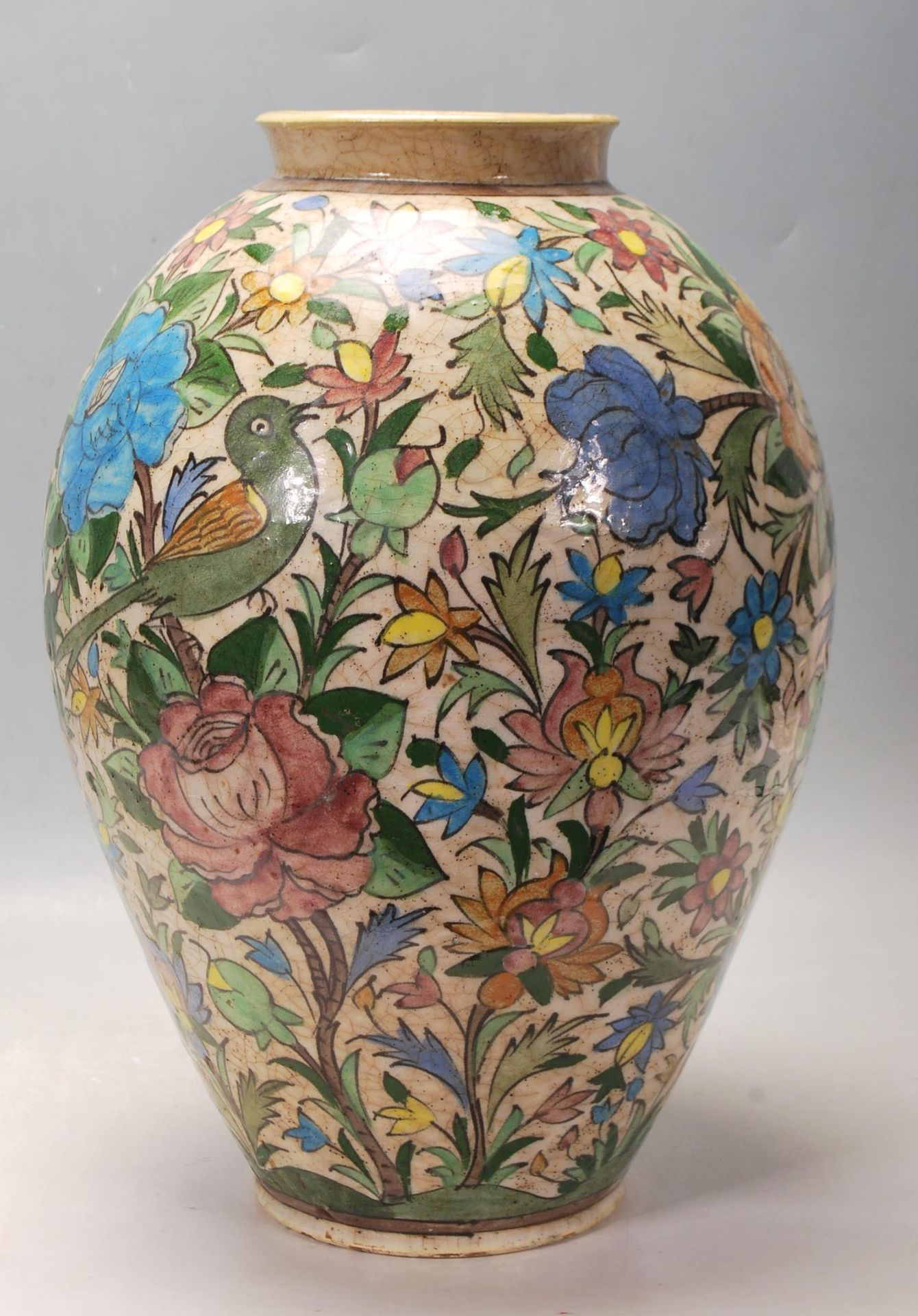 LATE 20TH CENTURY PERSIAN ISLAMIC VASE WITH POLYCHROME DECORATION