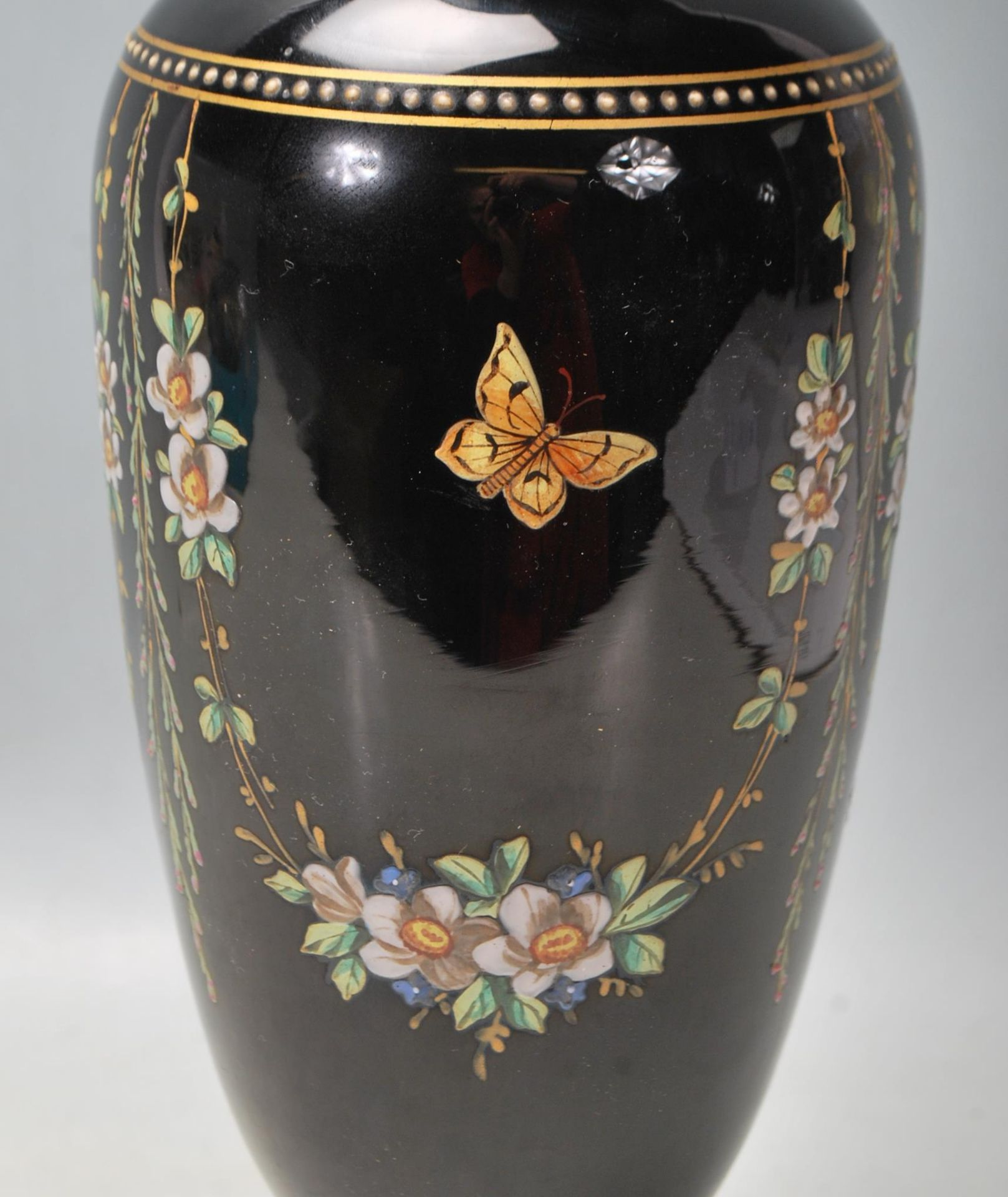 ANTIQUE BLACK AMETHYST BOHEMIAN GLASS VASE - Image 3 of 7