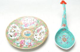 19TH CENTURY CANTON FAMILLE ROSE PLATE TOGETHER WITH A