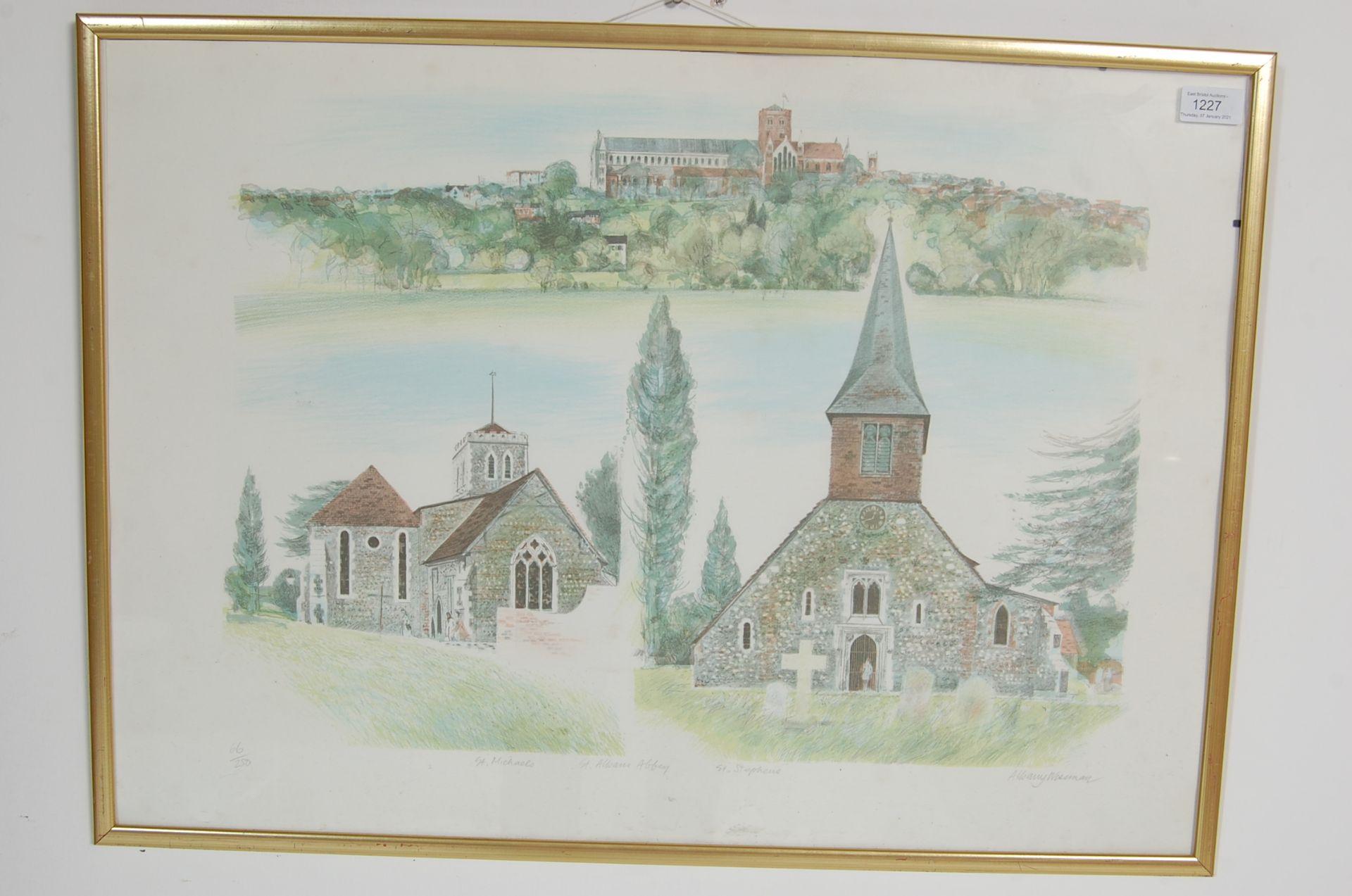 ALBANU WISEMAN LIMITED EDITION LITHOGRAPH OF THREE CHURCHES