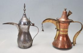 MIDDLE EASTERN COPPER & BRASS DALLAH COFFEE POT AND ANOTHER