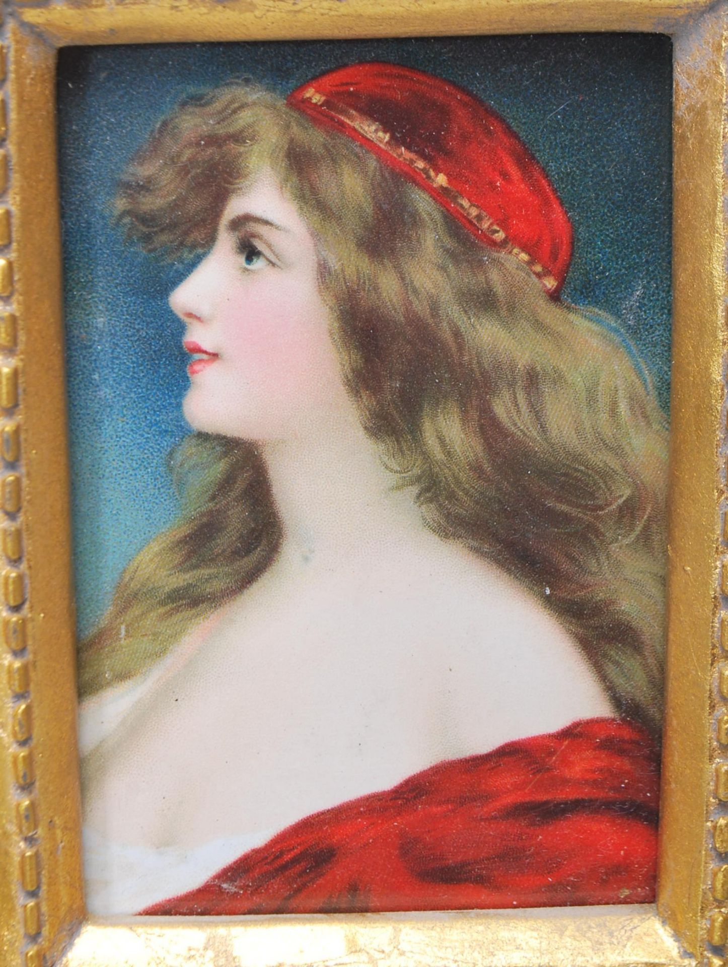 GROUP OF SIX ANTIQUE AND VINTAGE MINIATURE PORTRAITS - TWO HAND PAINTED - Image 4 of 8