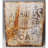 EARLY 20TH CENTURY 1930S DOUBLE SIDED INDUSTRIAL METAL PLAQUE FOR WATSONS MATCHLESS CLEANSER