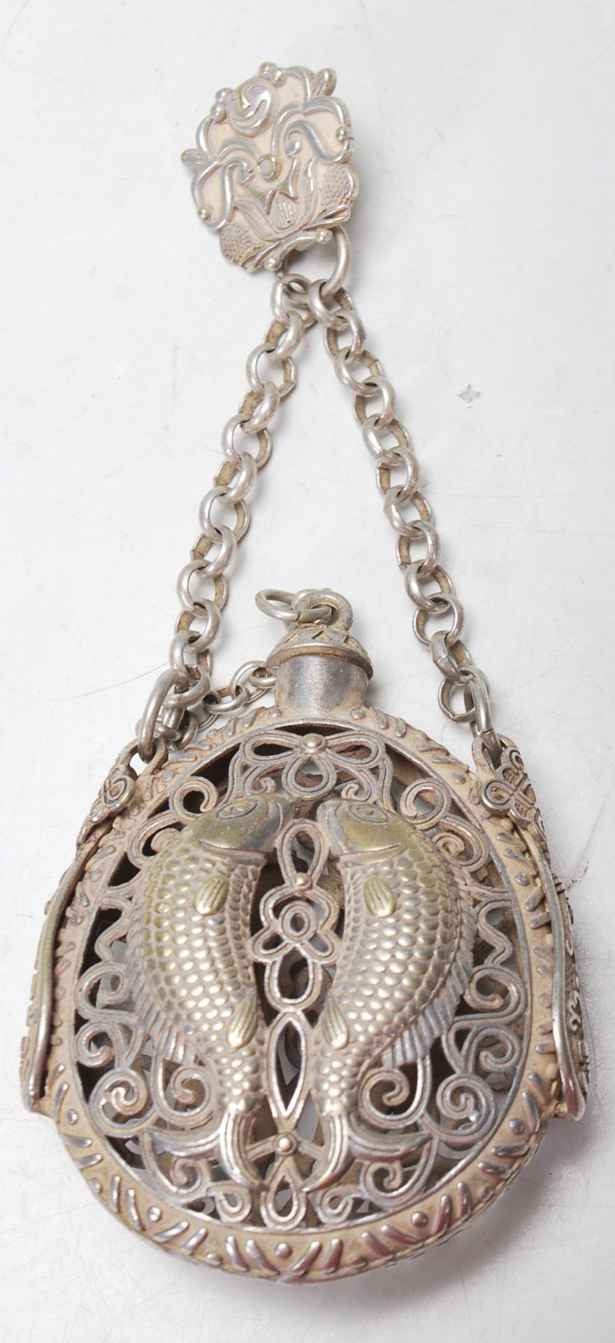 VINTAGE 20TH CENTURY SILVER / WHITE METAL CHINESE SCENT BOTTLE WITH PIERCED DECORATION