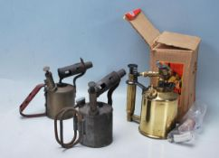 GROUP OF THREE BRASS BLOW TORCH / BLOW LAMP
