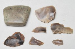 NEOLITHIC CARVED STONE AXE HEAD & OTHERS