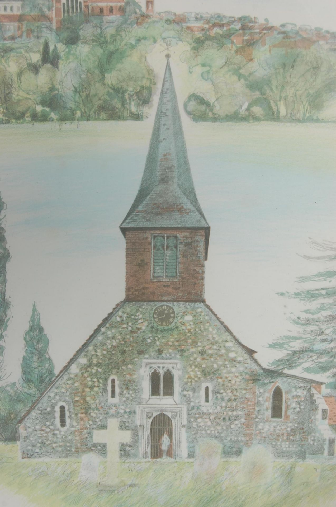ALBANU WISEMAN LIMITED EDITION LITHOGRAPH OF THREE CHURCHES - Image 2 of 8