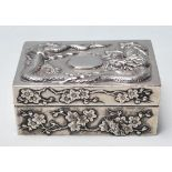 ANTIQUE CHINESE ORIENTAL WHITE METAL BOX / CIGARETTE BOX