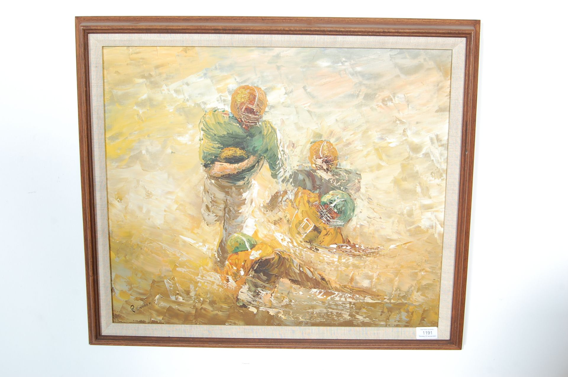 AMERICAN FOOTBALL OIL ON CANVAS PALETTE KNIFE PAINTING