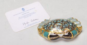 ROYAL CROWN DERBY PAPERWEIGHT IN A FORM OF A CROMER CRAB WITH GOLD STOPPER