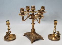 TWO 20TH CENTURY ANTIQUE STYLE BRASS CANDLESTICKS WITH DRAGON HANDLES