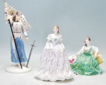 A THREE CERAMIC PORCELAIN LADY FIGURINES - ROYAL DOULTON - ROAYAL WORCESTER - COALPORT