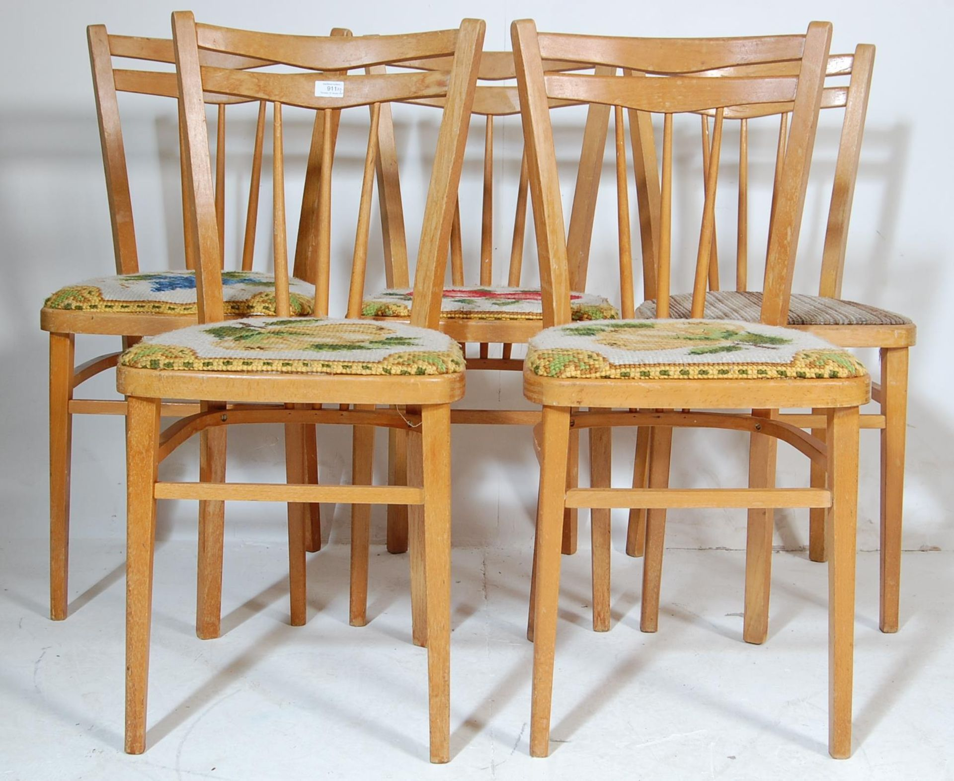FIVE RETRO 20TH CENTURY DINING CHAIRS / KITCHEN CHAIRS