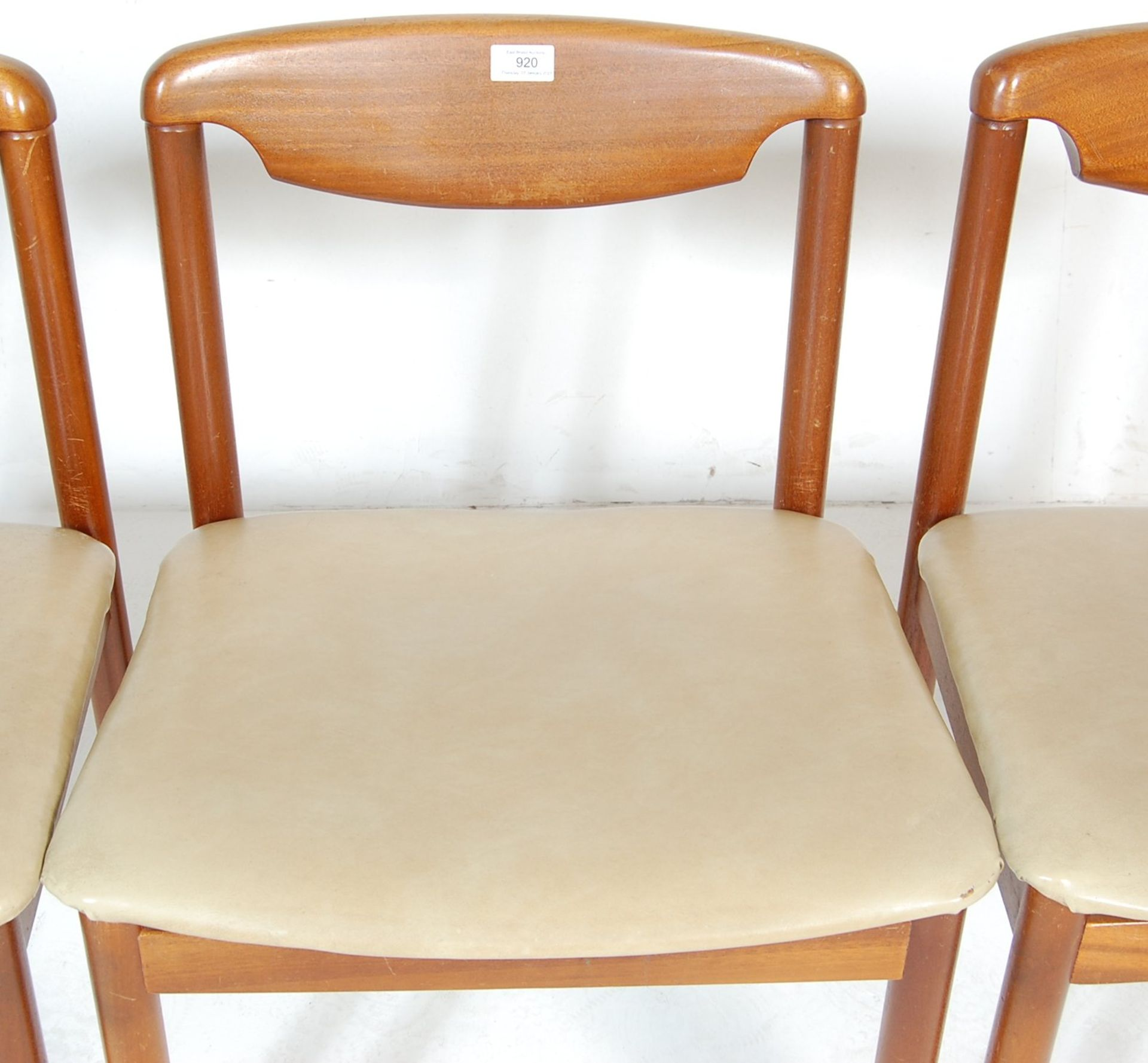 FOUR RETRO TEAK WOOD DINING CHAIRS WITH LEATHER SEATS - Image 3 of 5