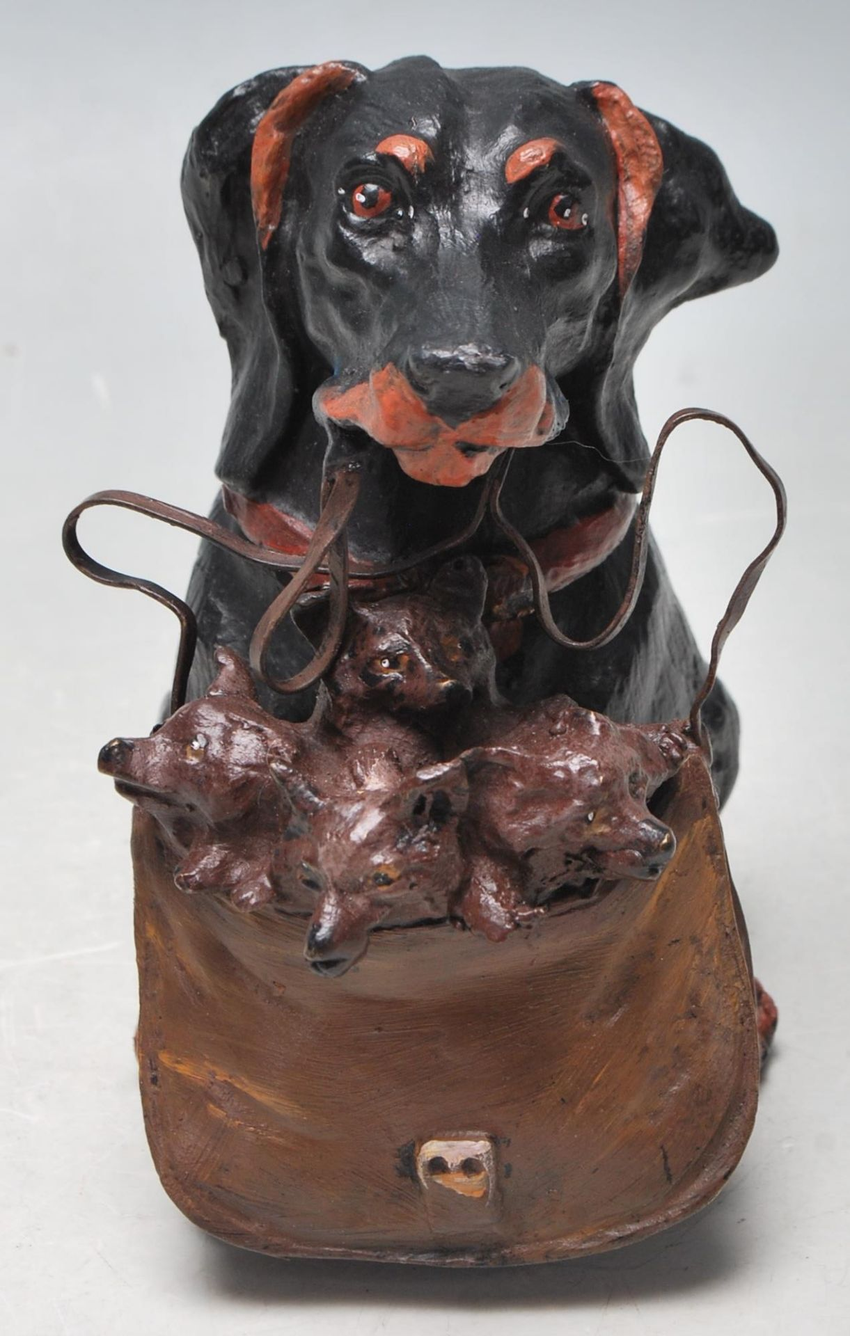 AUSTRIAN STYLE COLDPLAINTED BRONZE DACHSHUND INKWELL - Image 5 of 5
