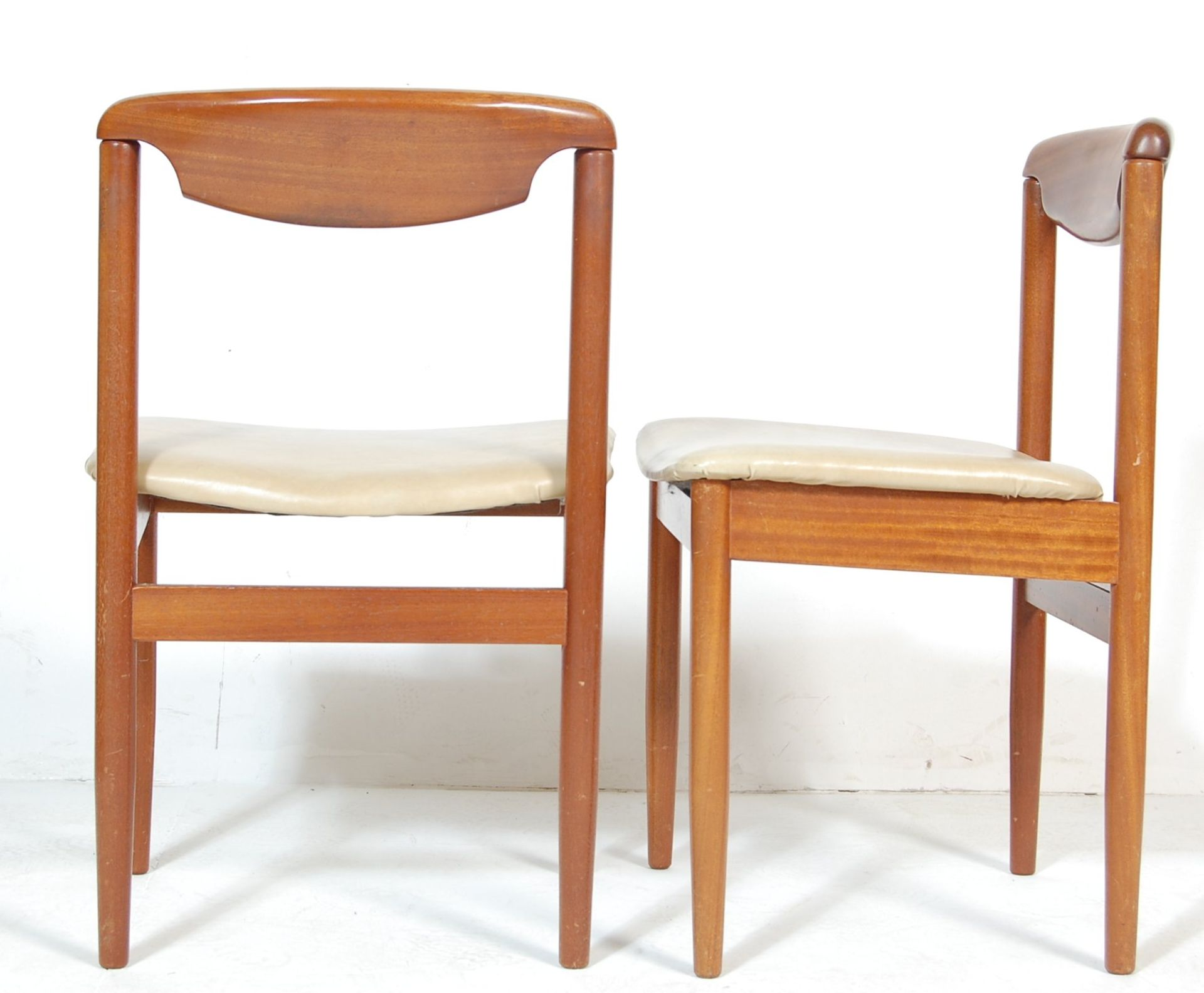 FOUR RETRO TEAK WOOD DINING CHAIRS WITH LEATHER SEATS - Image 5 of 5