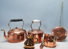 COLLECTION OF COPPER AND BRASS KETTLES AND WATER JUGS