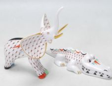 TWO HAND PAINTED CERAMIC FIGURINES BY HOLLOHAZA HUNGRY - ELEPHANT - CROCODILE