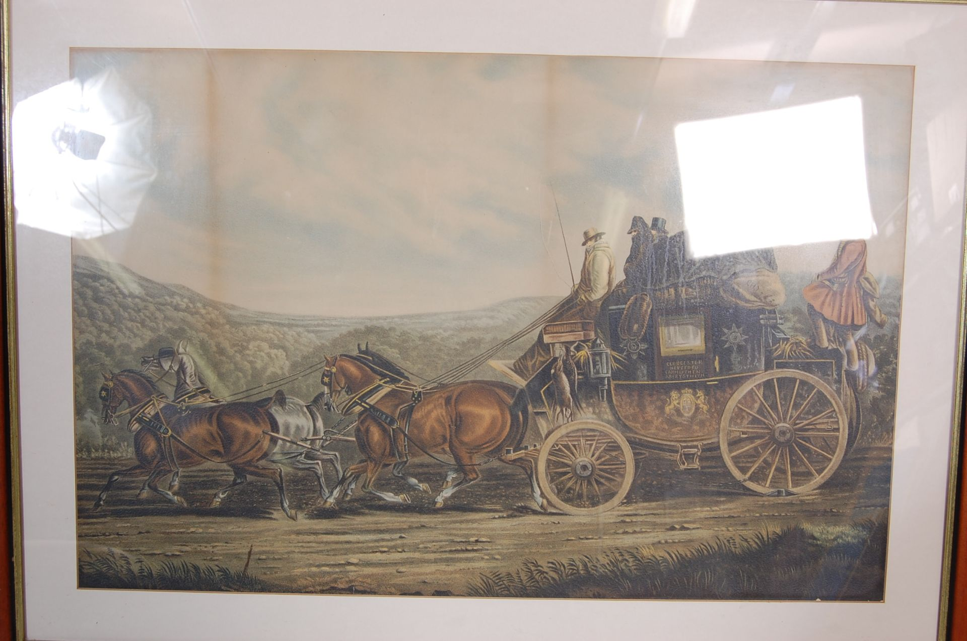 A GROUP OF SEVEN ROYAL MAIL LITHOGRAPH PRINTS DEPICTING 19TH CENTURY ROAYL MAIL COACHES - Image 7 of 13