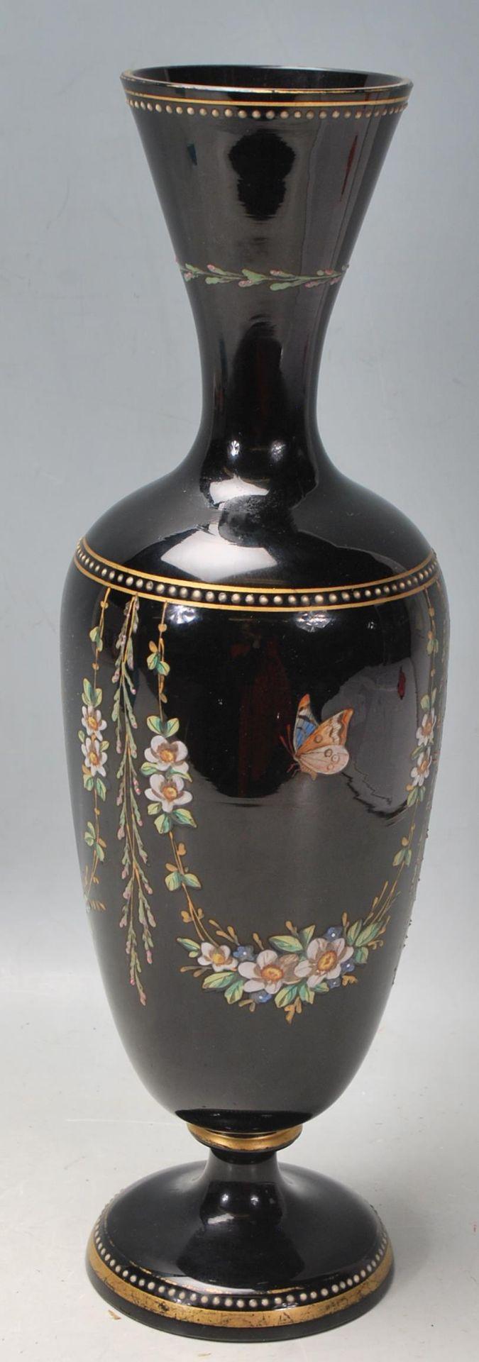 ANTIQUE BLACK AMETHYST BOHEMIAN GLASS VASE - Image 4 of 7