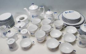 LARGE MID CENTURY VINTAGE GERMAN BLUE AND WHITE PORCELAIN TEA SERVICE BY KRONESTER BAVARIA