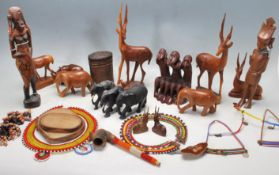 LARGE QUANTITY OF HARDWOOD AFRICAN TRIBAL ANIMALS FIGURINES AND NECKLACES