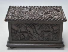 ANTIQUE CHINESE ORIENTAL HARD WOOD BOX DECORATED WITH DRAGONS AND PALM TREES