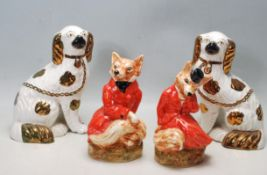 STAFFORDSHIRE FOX HUNTING FIGURINES AND SPANIELS