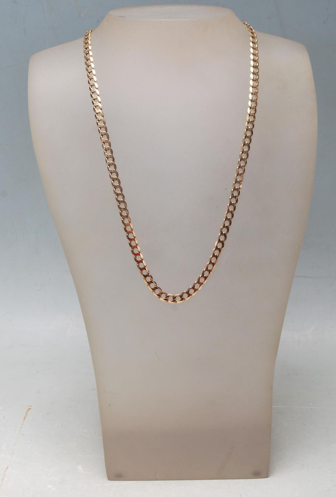 9CT GOLD FLAT LINK NECKLACE CHAIN - Image 7 of 7