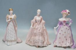 THREE COALPORT LIMITED EDITION CERAMIC FIGURINES - MRS FITZHERBERT - MADAME DE POMPADOUR