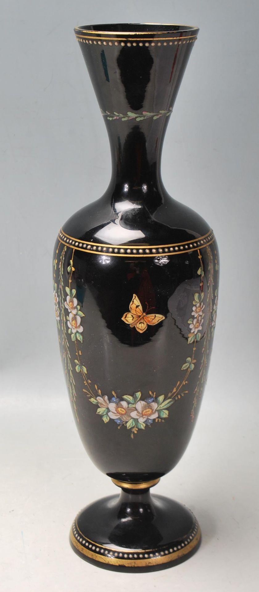 ANTIQUE BLACK AMETHYST BOHEMIAN GLASS VASE