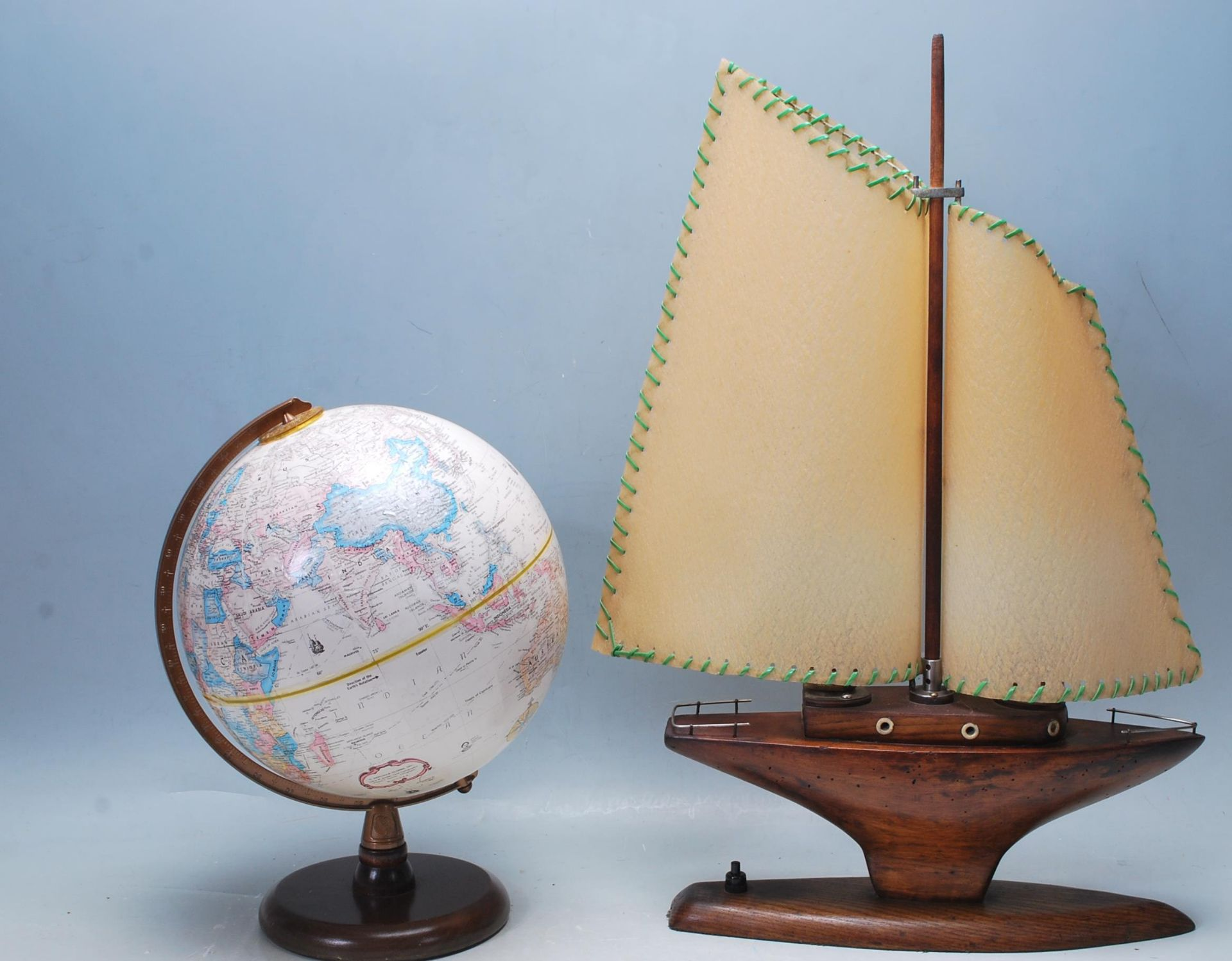 RETRO 20TH CENTURY WOODEN SAILING YACHT TABLE LAMP AND GLOBE - Image 6 of 6
