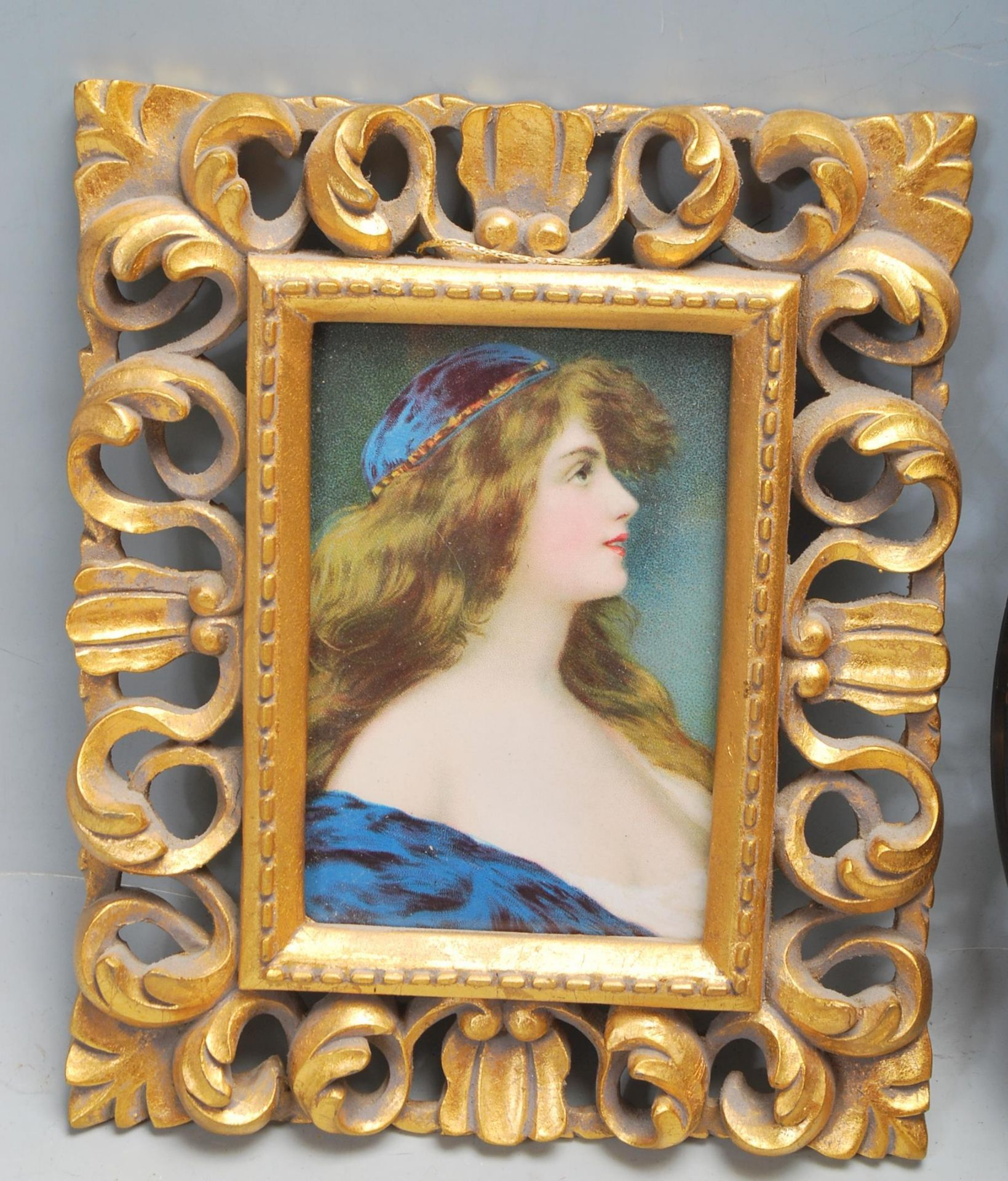 GROUP OF SIX ANTIQUE AND VINTAGE MINIATURE PORTRAITS - TWO HAND PAINTED - Image 2 of 8