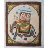ANTIQUE INDIAN PAINTING ON SILK DEPICTING AN ELEPHANT