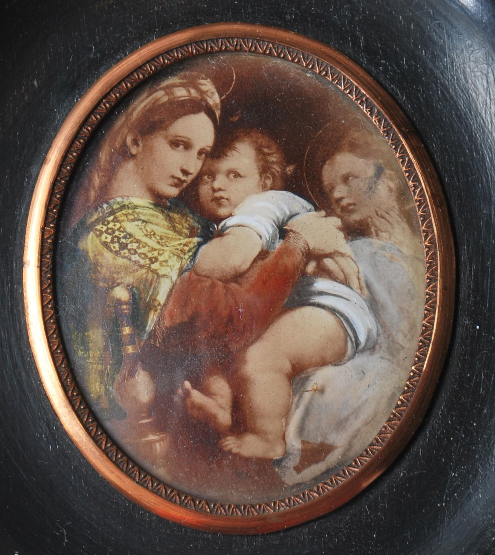 GROUP OF SIX ANTIQUE AND VINTAGE MINIATURE PORTRAITS - TWO HAND PAINTED - Image 5 of 8
