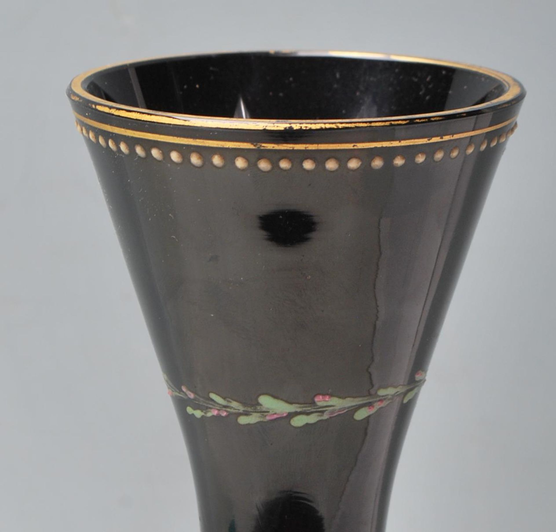 ANTIQUE BLACK AMETHYST BOHEMIAN GLASS VASE - Image 2 of 7
