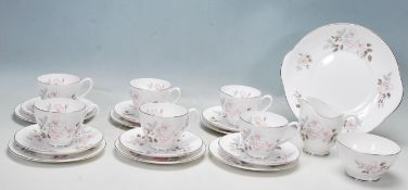 ROYAL ADDERLEY SILVER ROSE TEA SERVICE FOR SIX