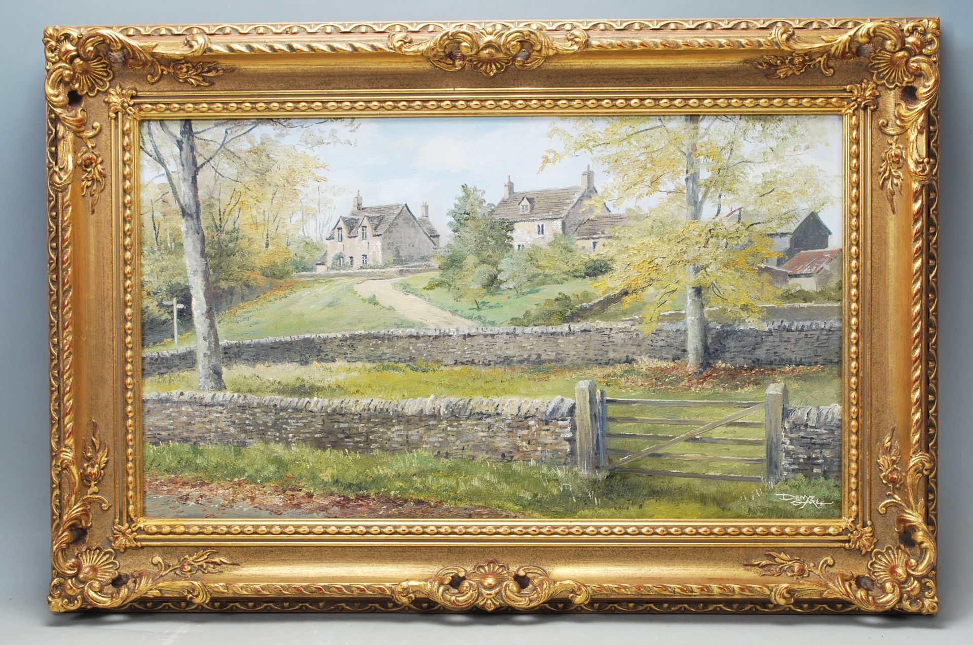 A VINTAGE OIL ON CANVAS PAINTING BY DENYS GARLE DEPICTING A LANDSCAPE