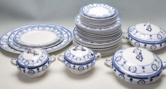 20TH CENTURY BLUE AND WHITE CRESCENT WARE DINING SERVICE