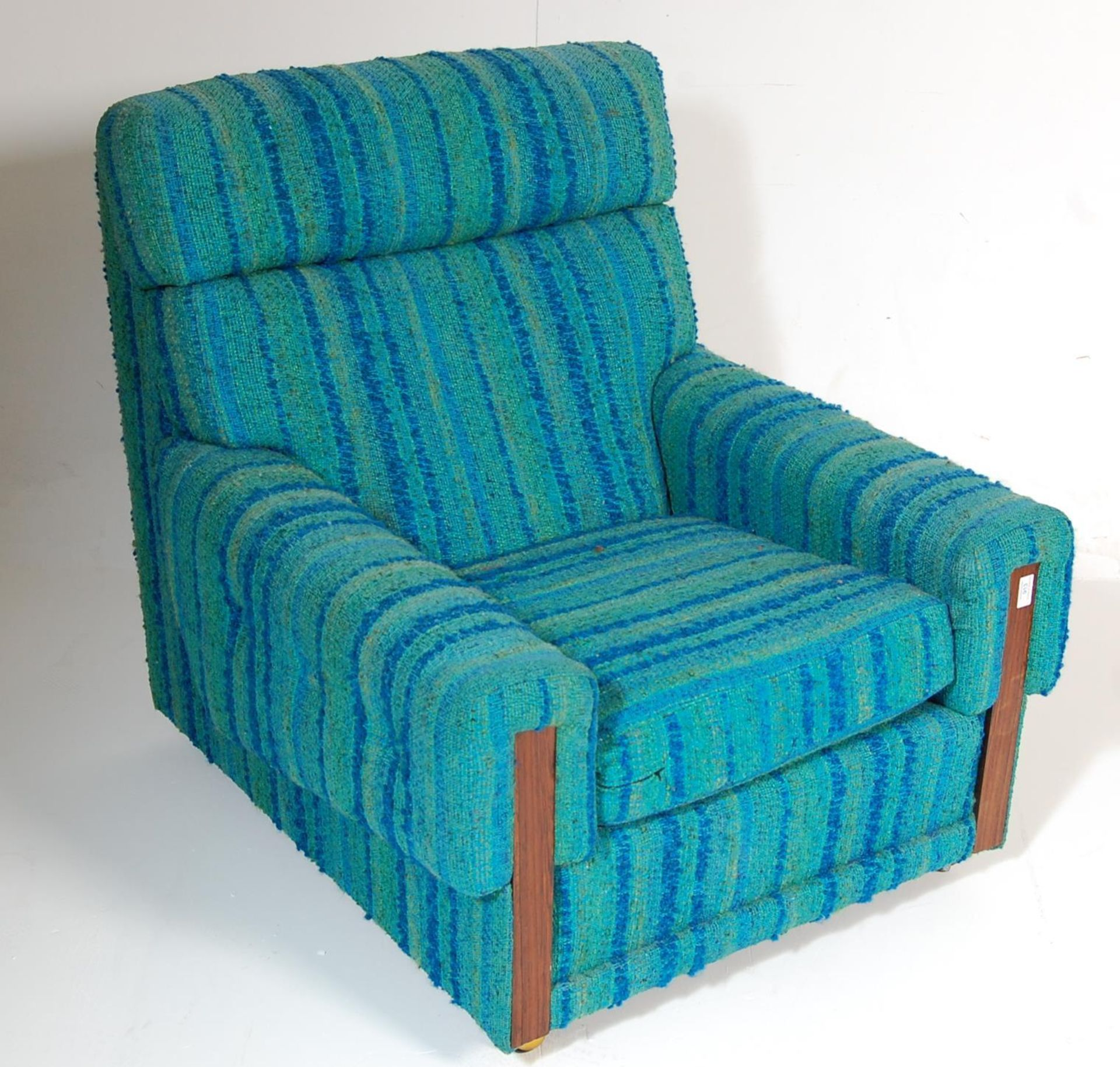 A retro mid century teak wood and upholstered easy chair / armchair - Image 2 of 5