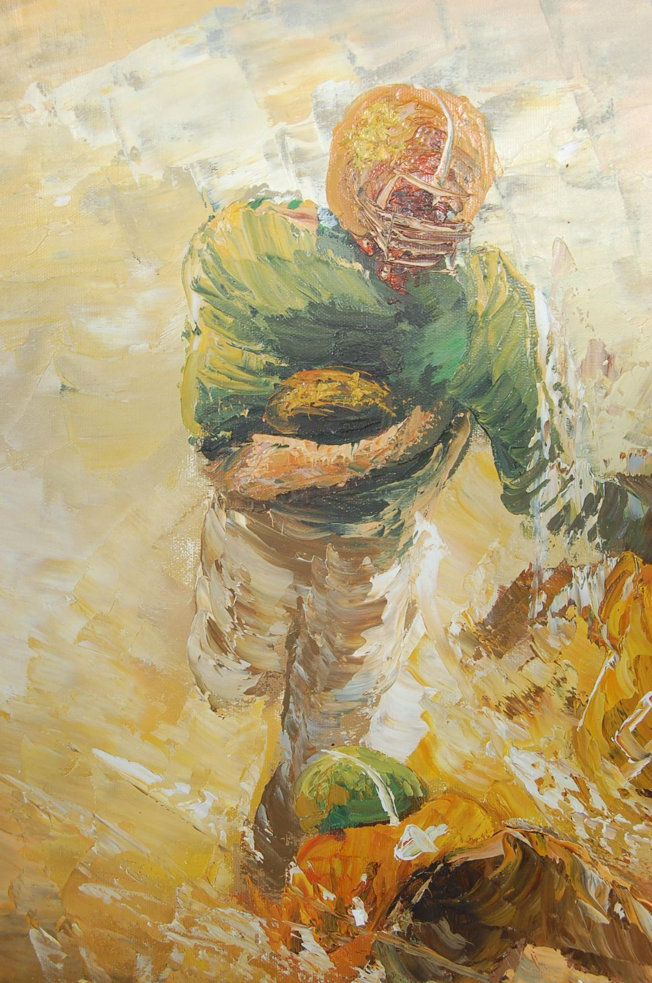 AMERICAN FOOTBALL OIL ON CANVAS PALETTE KNIFE PAINTING - Image 3 of 6