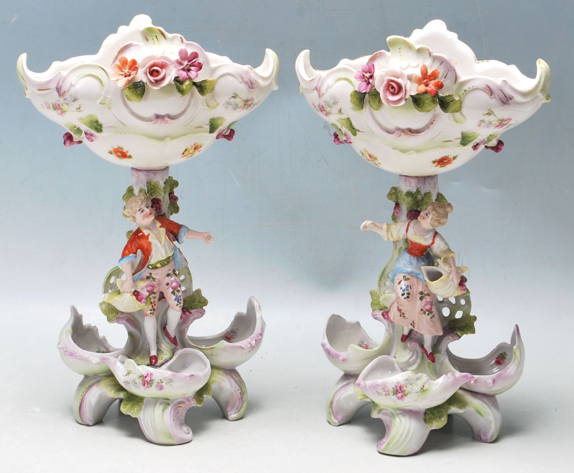 19TH CENTURY VICTORIAN GERMAN PORCELAIN CENTRE PIECES - Image 4 of 7