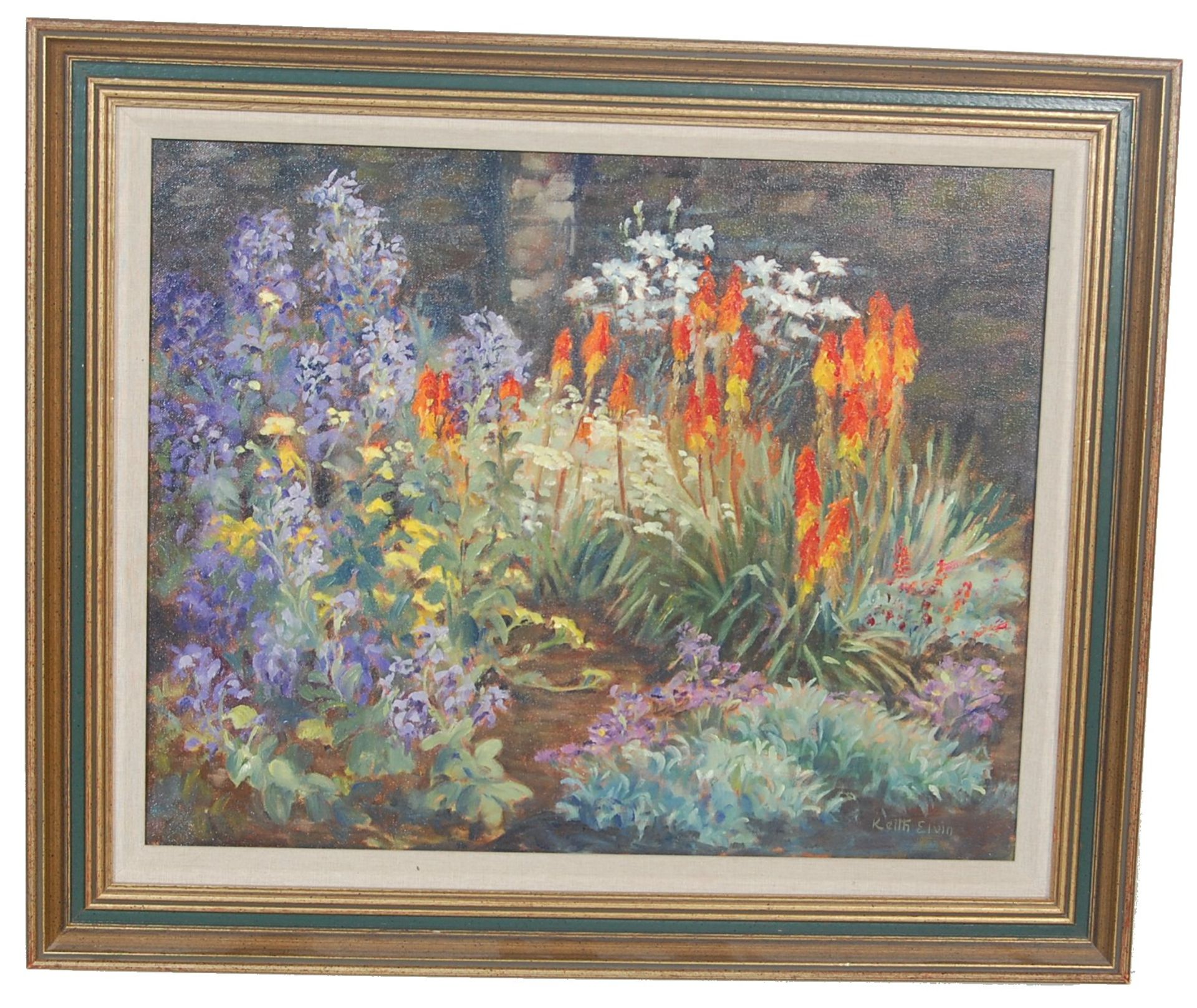 PAINTING BY LOCAL ARTIST - KEITH ELVIN - THE MIXED BORDER