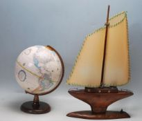 RETRO 20TH CENTURY WOODEN SAILING YACHT TABLE LAMP AND GLOBE